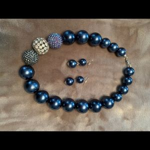 Blue bauble necklace and matching earrings